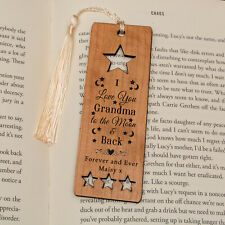 Personalised Wooden Bookmark - I love you to the moon and back - Mum Grandma