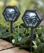 Sets of 2 Solar Powered Lighted Butterfly Silhouette Garden Pathway Stakes