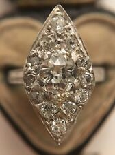 Antique Victorian Extra Large Marquise Old Cut Diamond Cluster Ring Platinum