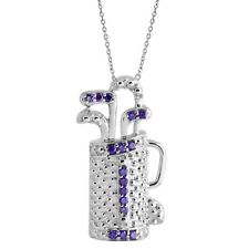Blue Zircon Pendant With Chain 925 Sterling Silver Golf 5.05Gm Black Friday Sale