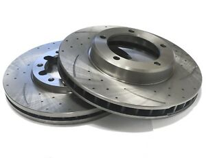 PAIR OF SLOTTED DIMPLED Front 350mm BRAKE ROTORS D2246S x2 AUDI Q7 06~15 3.0L