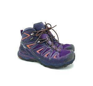 SALOMON X ULTRA MID 2 GTX Waterproof HIKING BOOTS Purple Black Orange Women's 8