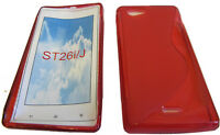 TPU Rubber Pattern Gel Case Protector Cover RED For Sony Xperia J ST26i ST26 UK