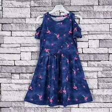 Kids Girls Summer denim look dress cold shoulder sleeveless top 2 to 12 years