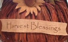 Primitive Harvest Blessings Wired Burlap Ribbon Banner Ornament Garland Fall NEW