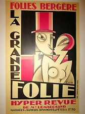 "Vintage Original French Theater ""Folies Bergere"" Poster On Linen"