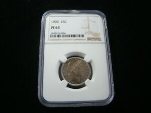 1905 Barber Silver Quarter NGC Graded PF64