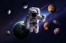 Astronaut in Outer Space Spacewalk Fabic Silk Poster 13*20in Home Wall Decor 001