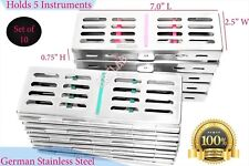5 Slot Sterilization Cassette Tray Rack 10pcs Dental Veterinary Surgical New