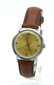VINTAGE 1965 TIMEX VISCOUNT SELF-WINDING CHAMPAGNE DIAL MEN'S LEATHER BAND WATCH