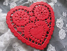 "12 PCS 💝 vtg 3.5"" INCH HEART SHAPE SMALL RED PAPER LACE DOILIES CRAFT CARDS"