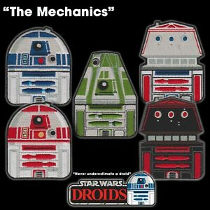 """Star Wars """"The Mechanics"""" Astromech Droid set of 5 embroidered patches R2 R5 R4"""