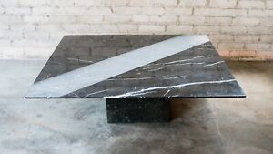 1990s Roche Bobois Marble Architectural Grooved Coffee Table