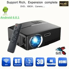 Portable LED Android 6.0 Wifi 3D 4K HD 1080P Home Theater 3000Lumen Projector UK