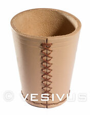 DICE CUP - Genuine LEATHER - TAN / BROWN - Hand-Made Hand-Stitched - Game RPG