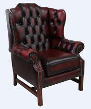 Chesterfield Churchill High Dos Rembourré Wing Fauteuil Antique rouge foncé en cuir