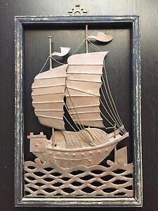 Fine Old VTG Antique Chinese Hammered Copper Ocean Boat Ship Metal Art Framed NR