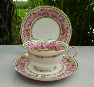 Antique George Jones Crescent China Pink Rose 17730 Cup Saucer Plate Trio