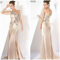 NWT JOVANI 173057 JEWEL FORMAL ONE SHOULDER GOWN IN BEIGH $989 SZ 2,4,8.12