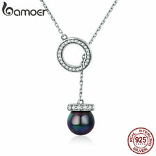 BAMOER S925 Sterling Silver Necklace noble Pearl Pendant & CZ For Women Jewelry