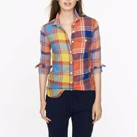 J.Crew Womens Boy Shirt in Orange Plaid Size 6 Long Sleeve Button Down Top Woven