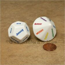 New D12 Months of the Year & D14 Days of the Week Jumbo Dice Set RPG Game Die