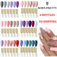 6ml 6Bottles BORN PRETTY UV Gel Polish Soak Off Glitter Nail Art Gel Varnish Set