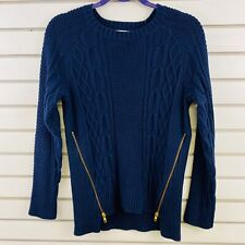 Womens M CAbi Cable Knit Sweater Navy Blue Gold Zipper Pullover Style #899