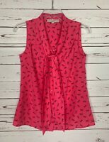 Loft Women's Petite Extra Small XSP Pink Navy Sleeveless Cute Top Tank Blouse