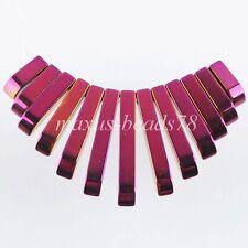 Purple Ray Hematite Gemstone Graduated 13Pcs Stick Beads Pendant Set MN1201