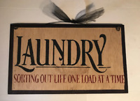 Sorting out life one load at a time Laundry Room sign country wood decor  6x12""