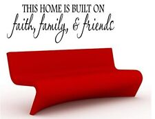 HOME BUILT ON FAITH FAMILY FRIENDS Words Wall Decal Lettering Sticky Quote 24""