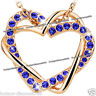 Love Heart Necklace Royal Blue Crystal Gift For Her Girlfriend Wife Mother Women