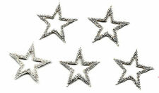 "STARS -  7/8"" SILVER OPEN STAR (5 Pc)Iron On Embroidered Applique/Trim, Accents"