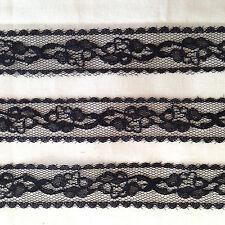 10 Meters X Black Floral Design Nylon Lace 21mm Wide Excellent Quality Lace
