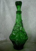 VETRERIA ETRUSCA Green Fruit Decanter/Bottle/Lid- Italy
