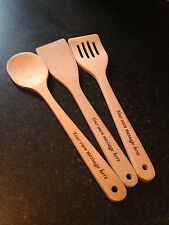 PERSONALISED ENGRAVED WOODEN SPOON AND SPATULA SET NEW HOME WEDDING ENGAGEMENT