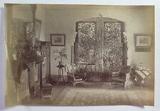 Antique Albumen Photograph House Interior Fireplace Furniture Window with Vines