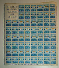 1963  ITALIA  15  lire  Giochi del mediterraneo   foglio  intero MNH**