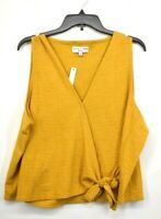 Madewell Texture & Threads Womens Sleeveless V-Neck Button Front Tie Tank 2X