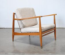 Vtg Mid Century Danish Modern Oak Teak Wood Arm Lounge Chair Selig Larsen Dux