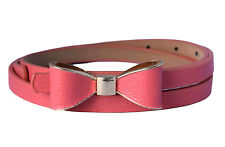 Ladies Women Fashion Bowknot Skinny Leather Thin Waist Belt UK Fast Shipping
