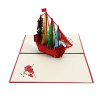 Sailboat 3D Handmade Origami Greeting Cards Birthday Christmas Postcards DIY EA