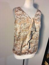 Ann Taylor Loft Woman's Beige Floral Ruffle Sleeveless Blouse Top Size Medium