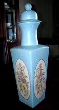 Powder BlueTall Vase w/ Lid & White Moriage/4 sided/Very Unique/Artist signed