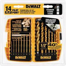DEWALT Titanium Pilot Point Drill Bits Bit Set Speed Metal Index Coated 14-Piece