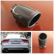 High Quality Real Carbon Fiber 63-89mm Exhaust Pipe Muffler Tips Glossy Black *1