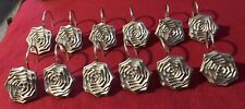 LARGE GOLD FLOWERS SHOWER CURTAIN HOOKS SET OF 12