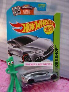 New! 2015 Hot Wheels TESLA MODEL S #217 ☆silver;red pr5☆Garage☆