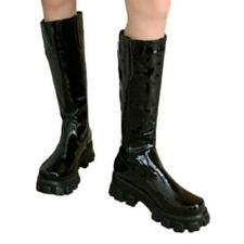 41/42/43 Women Western Pull On Creepers Patent Leather Mid Calf Boots Outdoor L